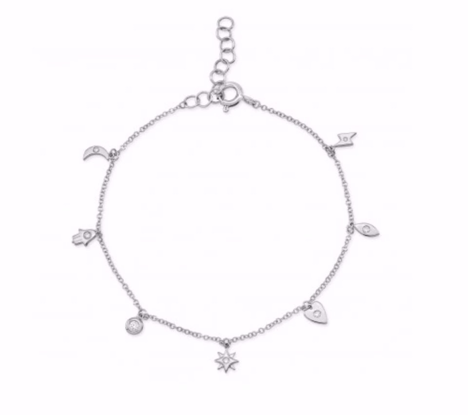 Tiny Charms Bracelet In 14k White Gold With Diamonds